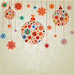 Stylized Christmas Balls, On beige Background. EPS 8 vector file included Stock Photo - Royalty-Free, Artist: ghostintheshell               , Code: 400-05704857