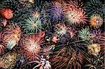 Multiple bursts of multicolored fireworks fill the horizontal frame against a black background Stock Photo - Royalty-Free, Artist: sgoodwin4813                  , Code: 400-05705096