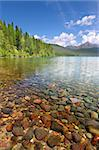 Pretty rocks seen through the crystal clear waters of Kintla Lake in Glacier National Park - USA. Stock Photo - Royalty-Free, Artist: Wirepec                       , Code: 400-05705133