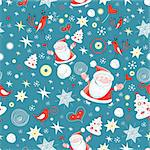 New seamless pattern with Santa Claus and snowflakes on a blue background