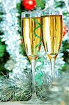 Two champagne flutes on Christmas background Stock Photo - Royalty-Free, Artist: pressmaster                   , Code: 400-05705286