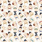 cartoon Sumo wrestler seamless pattern  Stock Photo - Royalty-Free, Artist: notkoo2008                    , Code: 400-05705321