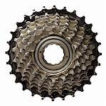 Bicycle gear, metal cogwheel. Isolated on white. Stock Photo - Royalty-Free, Artist: donatas1205                   , Code: 400-05705739