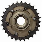 Bicycle gear, metal cogwheel. Isolated on white. Stock Photo - Royalty-Free, Artist: donatas1205                   , Code: 400-05705741