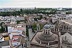 Aerial view of the city of Seville from the tower Catadral