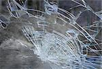 Smashed windshield seen from inside the vehicle Stock Photo - Royalty-Free, Artist: PinkBadger                    , Code: 400-05706071