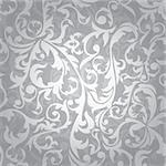 abstract seamless silver floral background vector illustration Stock Photo - Royalty-Free, Artist: SelenaMay                     , Code: 400-05706305