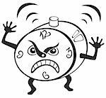 Illustration of mad alarm clock wakening at morning Stock Photo - Royalty-Free, Artist: oxygen64                      , Code: 400-05706473