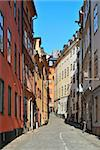 Stockholm. Narrow street of the Old Town lightened  by the morning sun Stock Photo - Royalty-Free, Artist: TatyanaSavvateeva             , Code: 400-05706525
