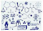 chemistry icons isolated on the school blue paper Stock Photo - Royalty-Free, Artist: jonnysek                      , Code: 400-05706751