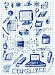 hand drawn computer icons in the blue colors Stock Photo - Royalty-Free, Artist: jonnysek                      , Code: 400-05706752