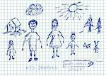hand drawn happy family concept in blue colors Stock Photo - Royalty-Free, Artist: jonnysek                      , Code: 400-05706788
