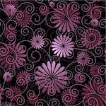 Black and violet seamless floral pattern with flowers and curls (vector) Stock Photo - Royalty-Free, Artist: OlgaDrozd                     , Code: 400-05706871