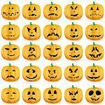 Halloween pumpkins as Jack O`Lantern, vector illustration Stock Photo - Royalty-Free, Artist: MarketOlya                    , Code: 400-05707214