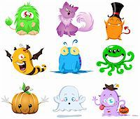 A vector illustration of cute funny and scary monsters for Halloween. Stock Photo - Royalty-Freenull, Code: 400-05707843