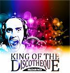 King of the discotheque flyer tor alternative music event postet. basckground is full of glitter and flow of lights with rainbow tone Stock Photo - Royalty-Free, Artist: DavidArts                     , Code: 400-05707891