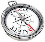 danger vs safety opposite ways conceptual image with compass isolated on white background Stock Photo - Royalty-Free, Artist: donskarpo                     , Code: 400-05708208