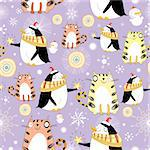 seamless pattern with winter fun cats and penguins on a violet background