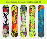 Snowboard design pack - five full editable designs - vector Illustration version also available Stock Photo - Royalty-Free, Artist: AlexCiopata                   , Code: 400-05709186