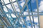 New residential construction home metal framing against a blue sky Stock Photo - Royalty-Free, Artist: LevKr                         , Code: 400-05709373