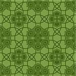 Green seamless pattern with dark geometric ornament (vector) Stock Photo - Royalty-Free, Artist: OlgaDrozd                     , Code: 400-05709407