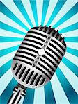 Classic Microphone on lined background. Vector illustration Stock Photo - Royalty-Free, Artist: sermax55                      , Code: 400-05709775