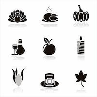 set of 9 black thanksgiving day icons Stock Photo - Royalty-Freenull, Code: 400-05710525