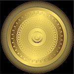 Decorative gold round plate on black background (vector) Stock Photo - Royalty-Free, Artist: OlgaDrozd                     , Code: 400-05710882
