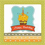 Happy Birthday cupcake Stock Photo - Royalty-Free, Artist: balasoiu                      , Code: 400-05711254