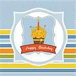 Happy Birthday cupcake Stock Photo - Royalty-Free, Artist: balasoiu                      , Code: 400-05711255