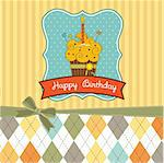 Happy Birthday cupcake Stock Photo - Royalty-Free, Artist: balasoiu                      , Code: 400-05711256