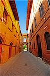 Narrow Alley With Old Buildings In Italian City of Siena Stock Photo - Royalty-Free, Artist: gkuna                         , Code: 400-05711405