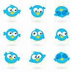 Blue funny Twitter Birds collection. Vector icons  Stock Photo - Royalty-Free, Artist: lordalea                      , Code: 400-05712005