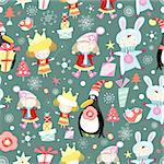 seamless pattern with children winter and penguins on a green background with gifts and snowflakes