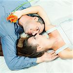 Portrait of young couple lies together outdoor Stock Photo - Royalty-Free, Artist: GoodOlga                      , Code: 400-05712714