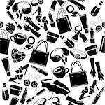 Seamless black-and-white pattern with woman's things Stock Photo - Royalty-Free, Artist: nurrka                        , Code: 400-05712972