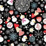 New seamless pattern with snowmen and hearts on a black background with snowflakes Stock Photo - Royalty-Free, Artist: tanor                         , Code: 400-05713089