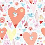 seamless pattern of hearts and birds on a white background decorative Stock Photo - Royalty-Free, Artist: tanor                         , Code: 400-05713090