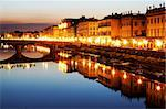 Florence and the Arno river at night Stock Photo - Royalty-Free, Artist: rechitansorin                 , Code: 400-05713455