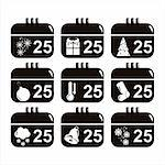 set of 9 black christmas calendar icons Stock Photo - Royalty-Free, Artist: LxIsabelle                    , Code: 400-05713486