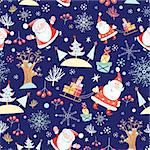 New seamless bright pattern with Santa Claus on a blue background with snowflakes