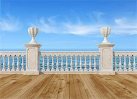 empty terrace overlooking the sea with concrete balustrade and wooden floor - rendering- the image on background is a my rendering composition Stock Photo - Royalty-Freenull, Code: 400-05714012