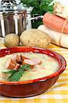 a red bowl of potato soup with parsley Stock Photo - Royalty-Free, Artist: silencefoto                   , Code: 400-05714127