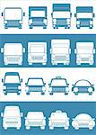 set blue and white cars with truck passenger car Stock Photo - Royalty-Free, Artist: keltt                         , Code: 400-05714250