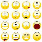 Set of yellow smiles. Vector illustration, isolated on a white. Stock Photo - Royalty-Free, Artist: Nete                          , Code: 400-05714461