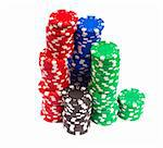 Gambling Chips Isolated over white background Stock Photo - Royalty-Free, Artist: Koljambus                     , Code: 400-05715428