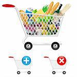 Shopping cart full of different products. Illustration on white background Stock Photo - Royalty-Free, Artist: dvarg, Code: 400-05715478