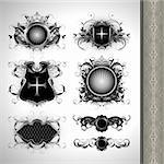 medieval heraldry shields, this illustration may be useful as designer work Stock Photo - Royalty-Free, Artist: kjolak                        , Code: 400-05715693