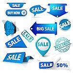 Collection of blue sale tickets, labels, stamps, stickers, corners, tags on white background Stock Photo - Royalty-Free, Artist: orsonsurf                     , Code: 400-05715711