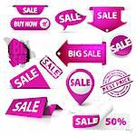 Collection of vector purple sale tickets, labels, stamps, stickers, corners, tags on white background Stock Photo - Royalty-Free, Artist: orsonsurf                     , Code: 400-05715712